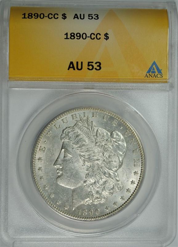 1890-CC MORGAN SILVER DOLLAR, ANACS AU-53