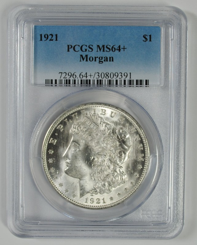 1921 MORGAN SILVER DOLLAR PCGS MS64+
