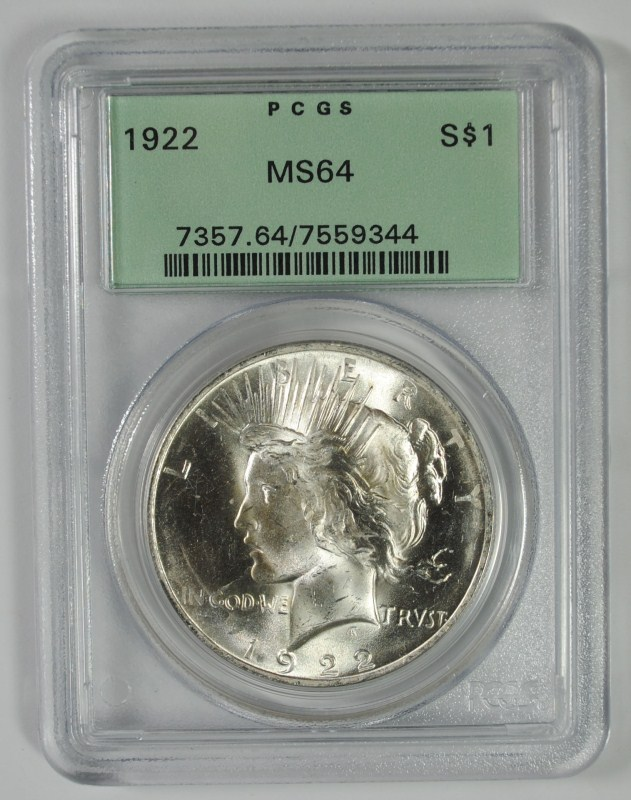 1922 PEACE SILVER DOLLAR, PCGS MS64 OLD GREEN HOLDER!