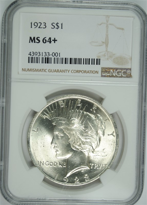 1923 PEACE SILVER DOLLAR, NGC MS-64+