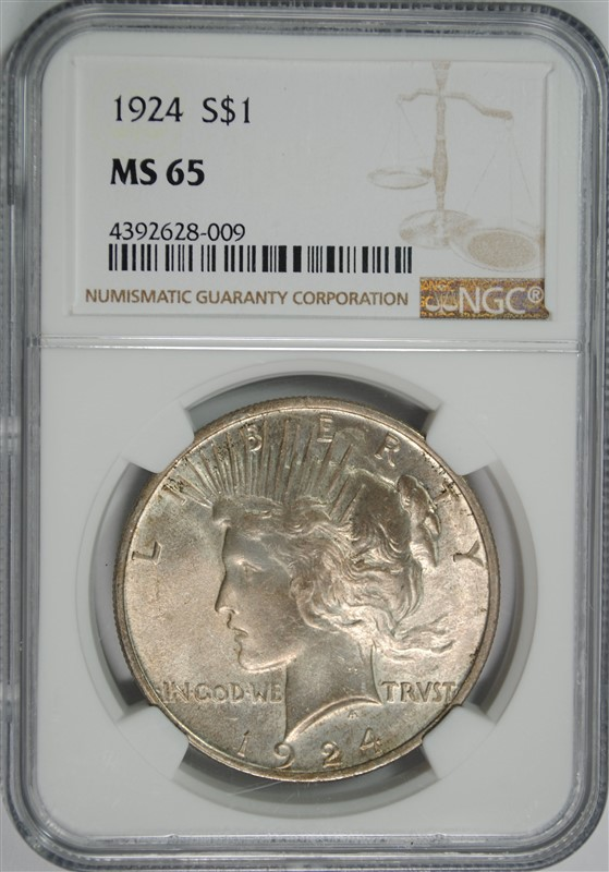 1924 PEACE SILVER DOLLAR, NGC MS-65