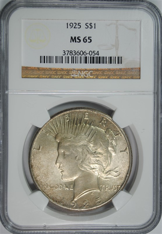 1925 PEACE SILVER DOLLAR, NGC MS-65