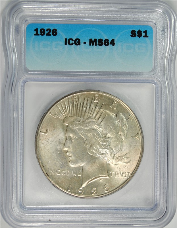 1926 PEACE SILVER DOLLAR ICG MS64