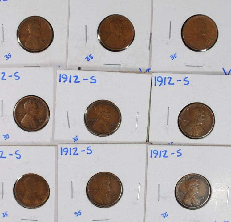 (9) 1912-S LINCOLN CENTS BETTER DATE ALL WILL GRADE VF-VF+
