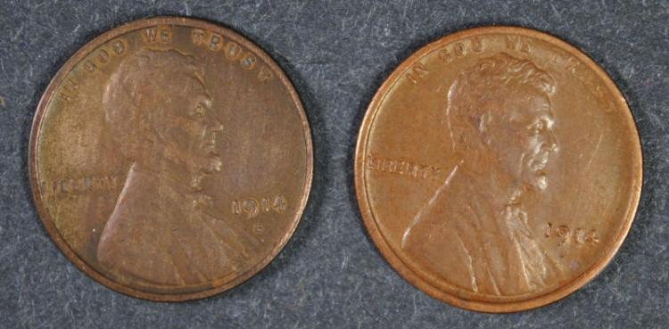 2 - LINCOLN CENTS - 1914 & 1914-S, BOTH XF