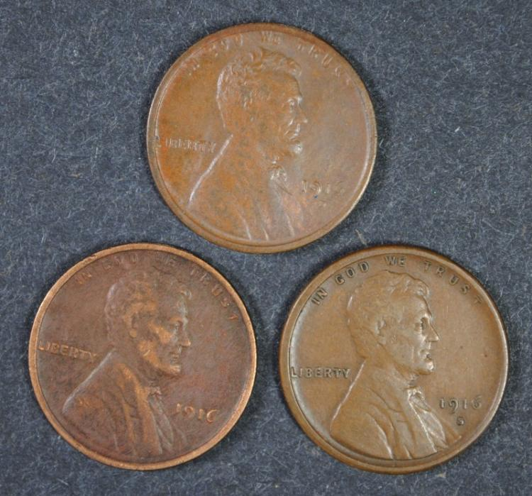 1916 VF, 1916-S VF, 1916-D AU - LINCOLN CENT LOT