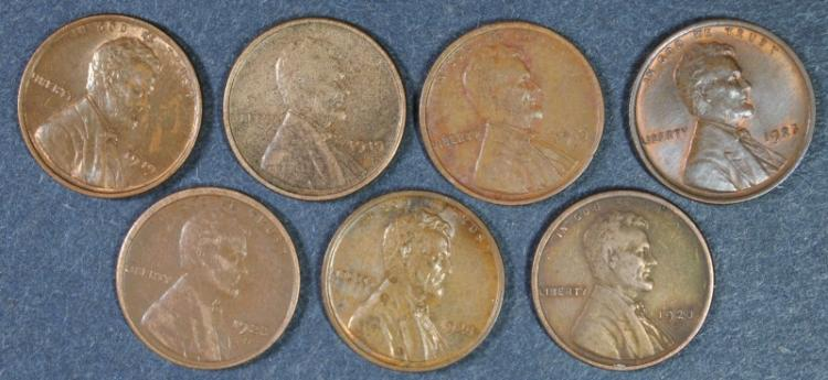 LINCOLN LOT; 1919-S XF, 1919-D XF, 1919 AU/UNC, 1920 AU, 1920-S VF, 1923-S XF