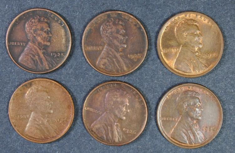 LINCOLN LOT; 1925-S, 1925-D BOTH XF, 1925 AU/UNC, 1926-D, 1926-S BOTH XF