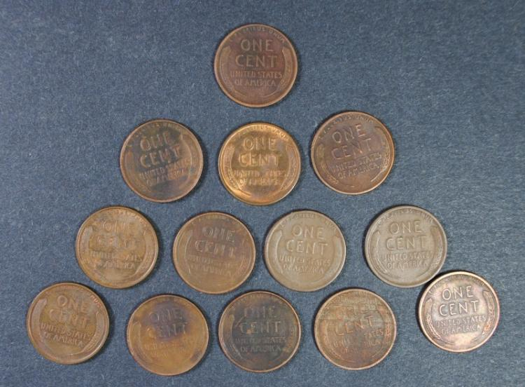 13 diff. LINCOLN CENTS; 1927-S, 1927-D, 1928-D, 1928-S, 1929-D, 1929-S, 1921-S,