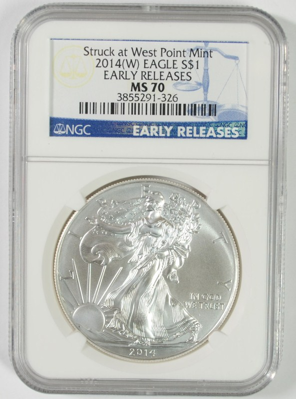2014 ( W ) AMERICAN SILVER EAGLE NGC MS70 EARLY RELEASES