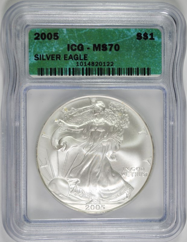 2005 AMERICAN SILVER EAGLE, ICG MS-70  SCARCE!