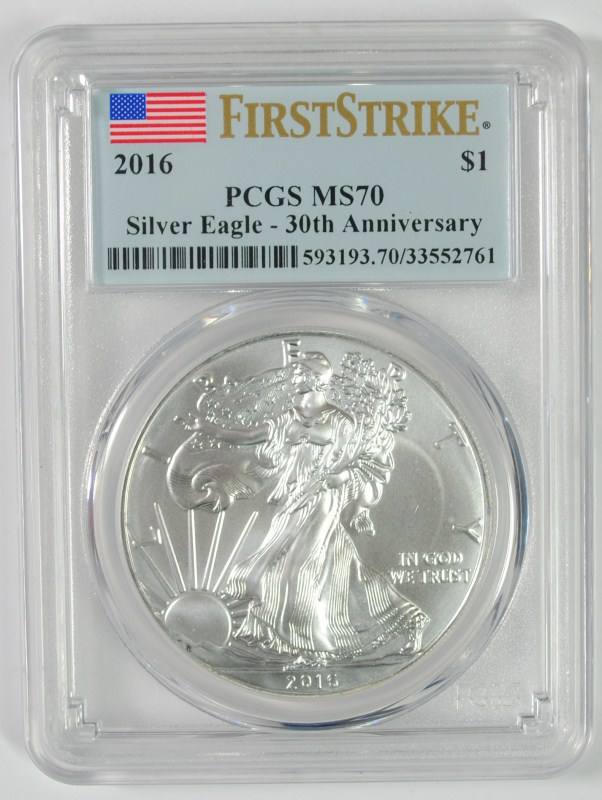 2016 AMERICAN SILVER EAGLE PCGS MS70 FIRST STRIKE