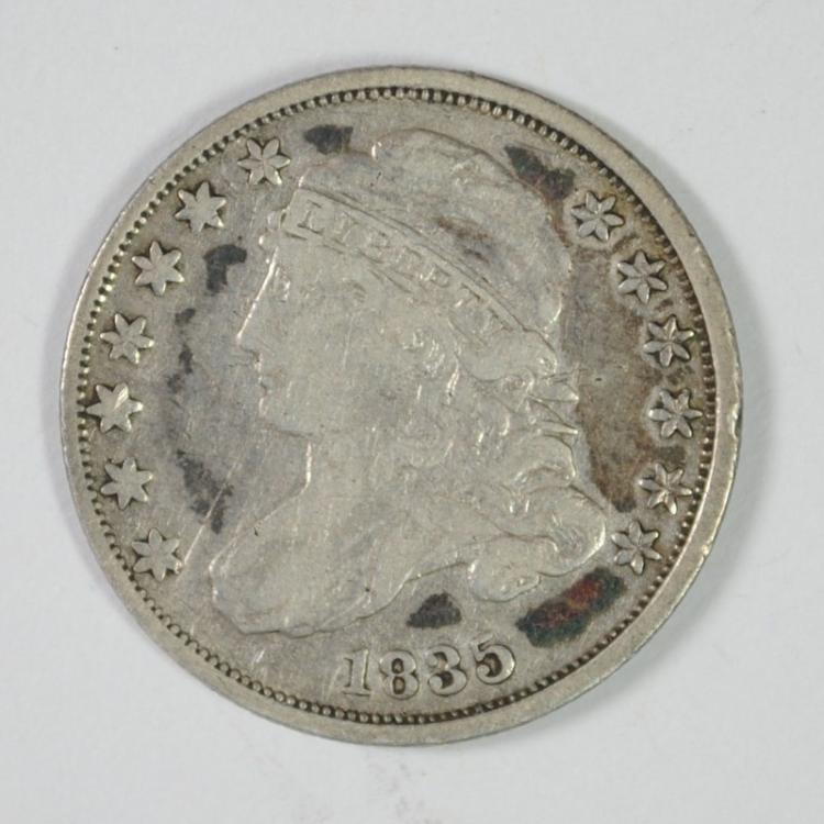 1835 CAPPED BUST DIME, VF