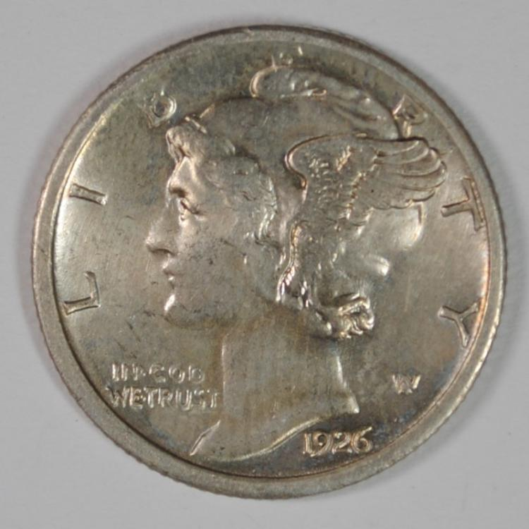1926-S MERCURY DIME, AU/BU TOUGH DATE!