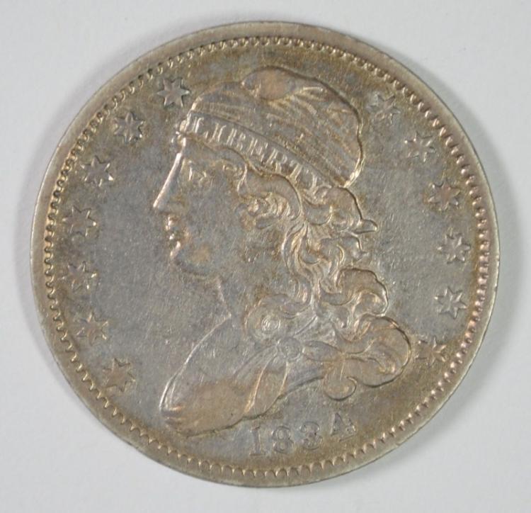 1834 CAPPED BUST QUARTER, AU! NICE ORIGINAL TYPE COIN