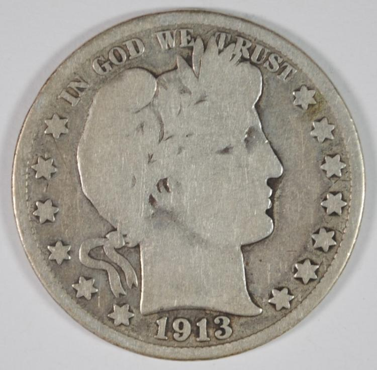 1913 BARBER HALF DOLLAR GOOD - KEY DATE