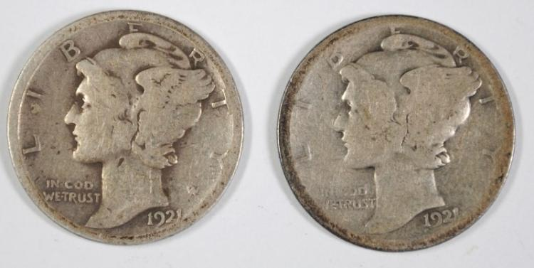 1921 & 1921-D MERCURY DIMES BOTH GOOD