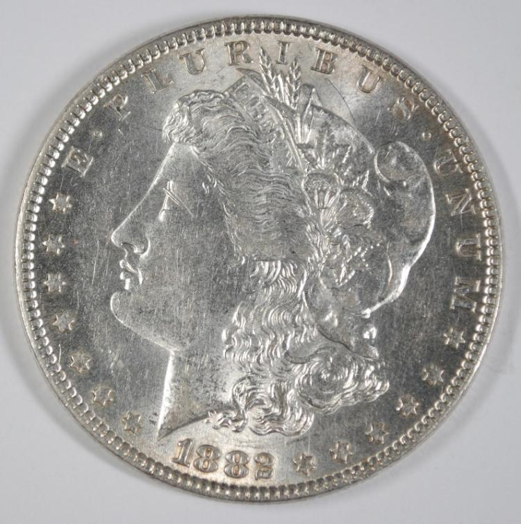1882 MORGAN SILVER DOLLAR, CHOICE BU+