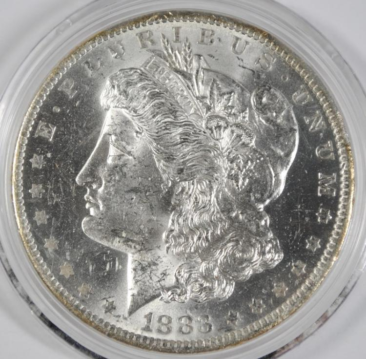 1883-O MORGAN SILVER DOLLAR, CHOICE BU+