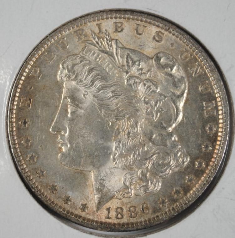 1886 MORGAN SILVER SILVER DOLLAR, CHOICE BU+