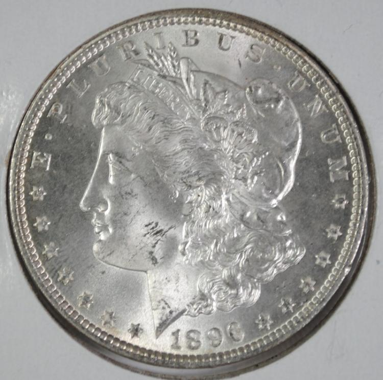 1896 MORGAN SILVER DOLLAR, GEM BU  WHITE BLAZER