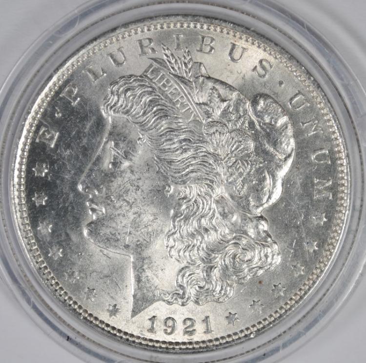 1921 MORGAN SILVER DOLLAR, CHOICE BU+