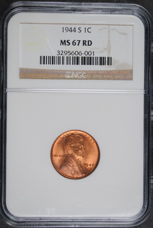 1944-S LINCOLN CENT, NGC MS-67 RED!