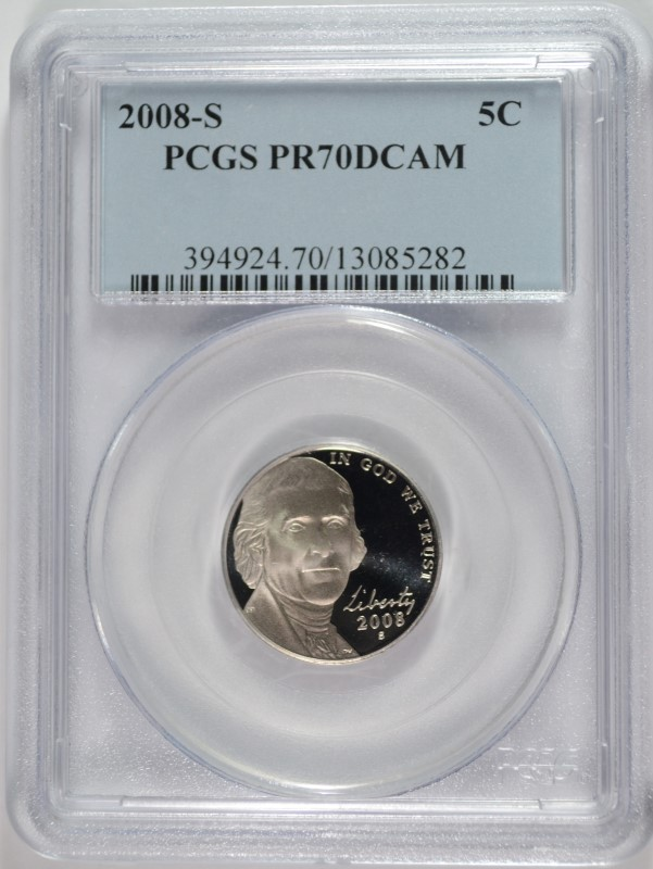 2008-S JEFFERSON NICKEL, PCGS PR-70 DCAM