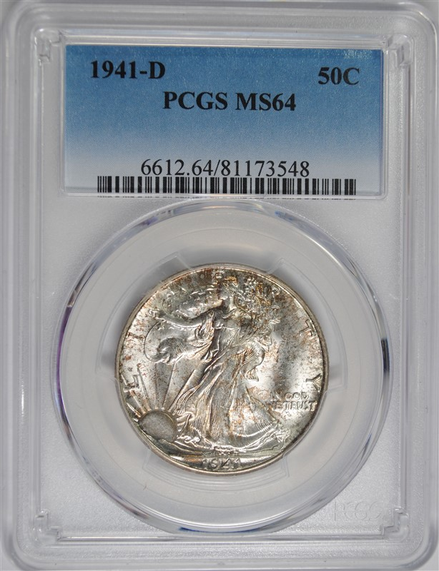 1941-D WALKING LIBERTY HALF DOLLAR, PCGS MS-64