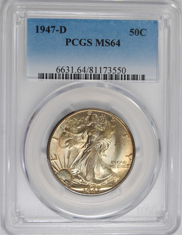 1947-D WALKING LIBERTY HALF DOLLAR, PCGS MS-64