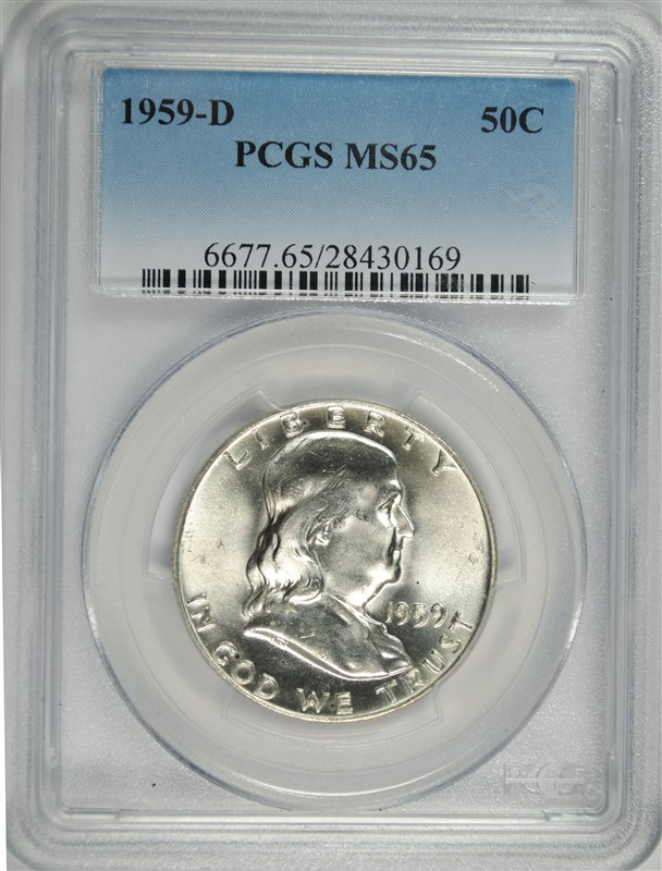 1959-D FRANKLIN HALF DOLLAR, PCGS MS-65 BLAST WHITE