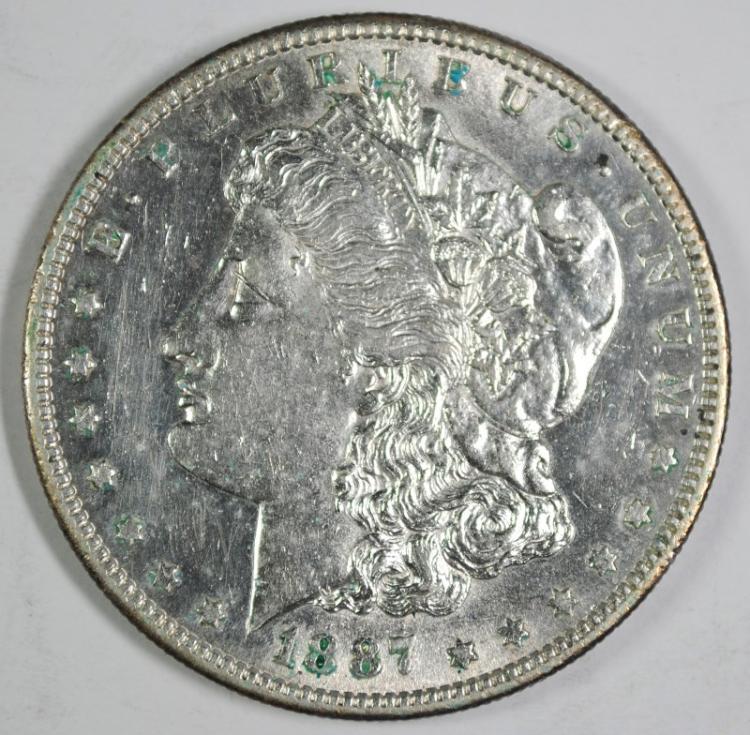 1887-S MORGAN SILVER DOLLAR, CHOICE AU+