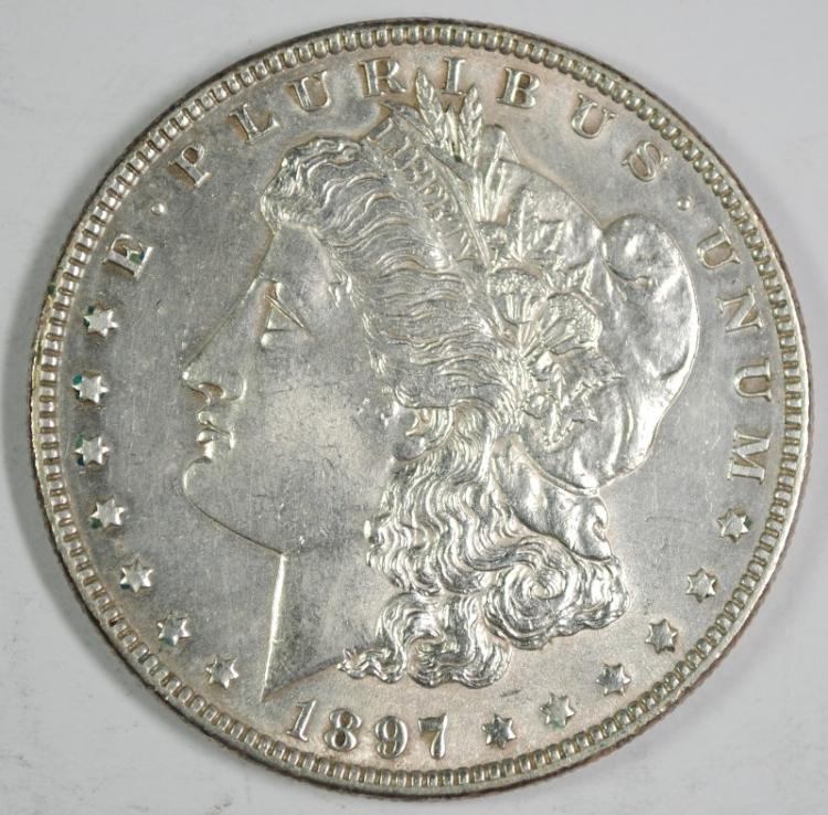 1897 MORGAN SILVER DOLLAR, BU