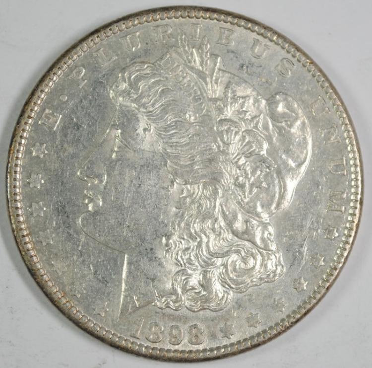 1898 MORGAN SILVER DOLLAR, UNC PL