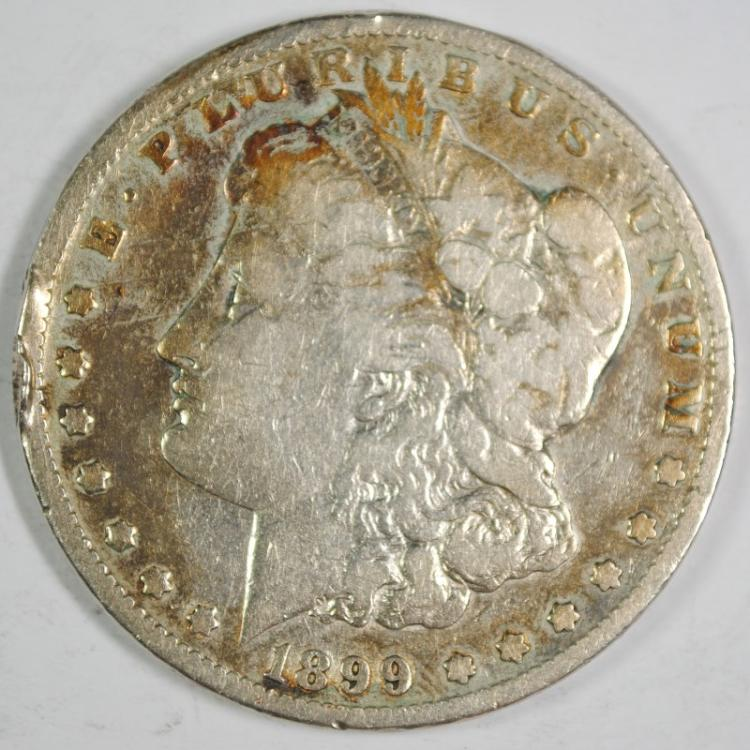 1899 MORGAN SILVER DOLLAR, VG rim nicks