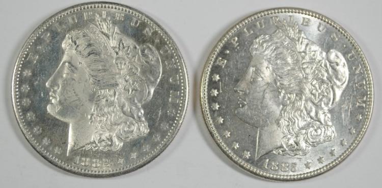 1882-S & 1885 MORGAN DOLLARS BU PROOF LIKE