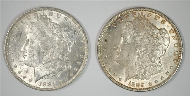 1884-O & 1889 CHOICE BU MORGAN SILVER DOLLARS