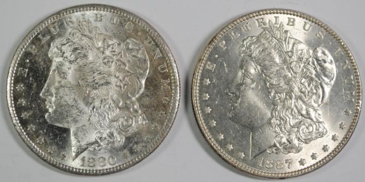 1887, & 1880-S MORGAN DOLLARS CH BU
