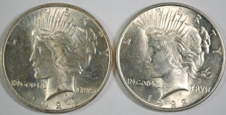 1922 & 1924 CH BU PEACE DOLLARS