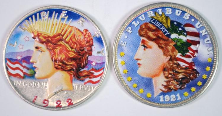 1921 MORGAN & 1922 PEACE SILVER DOLLARS, PAINTED/COLORIZED
