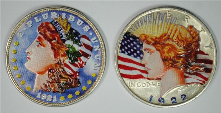 2 - COLORIZED / PAINTED SILVER DOLLARS; 1921 MORGAN & 1922-D PEACE
