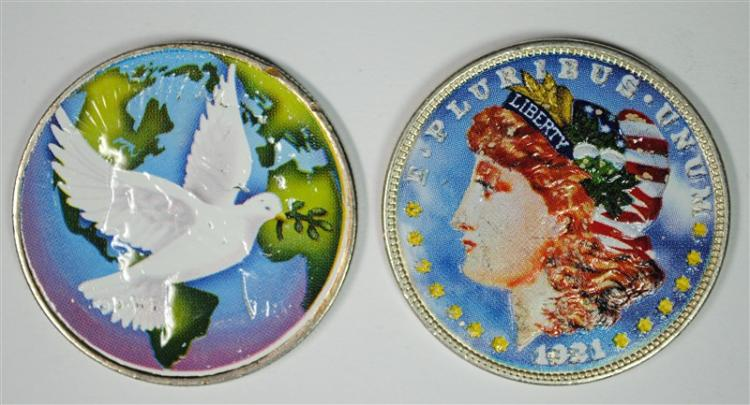 2 - COLORIZED SILVER DOLLARS; 1921 MORGAN & 1924 PEACE