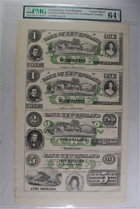 1860'S UNCUT SHEET: BANK OF NEW ENGLAND AT GOODSPEEDS LANDING; SEE DESCRIPTION