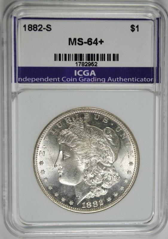 1882-S MORGAN SILVER DOLLAR, ICGA  CH/GEM BU