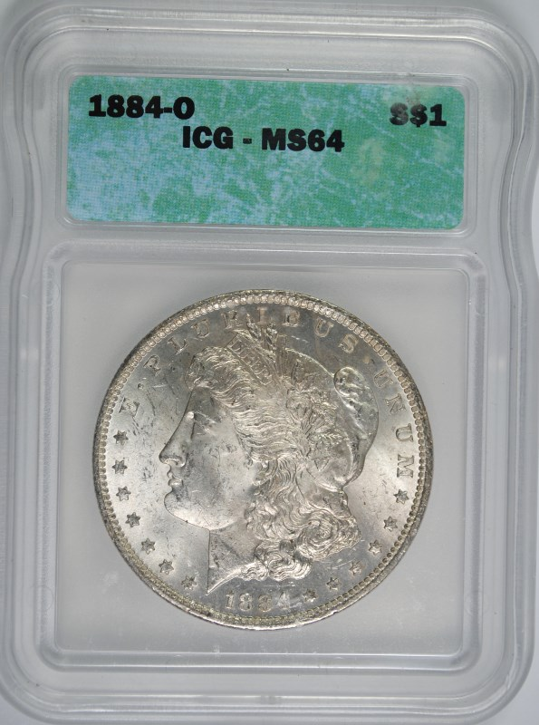 1884-O MORGAN SILVER DOLLAR, ICG MS-64