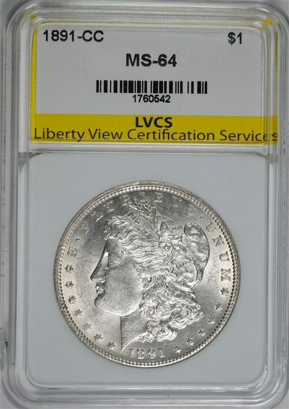 1891-CC MORGAN SILVER DOLLAR LVCS, CH/GEM BU