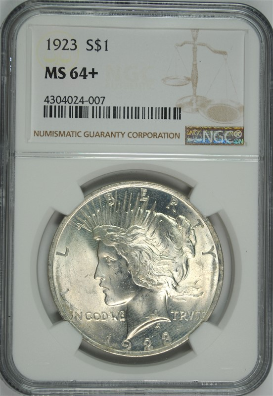1923 PEACE DOLLAR NGC MS-64+