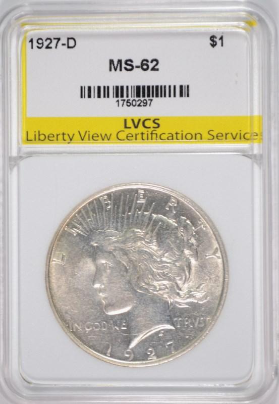1927-D PEACE SILVER DOLLAR LVCS CH BU