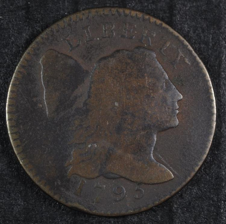 1795 LARGE CENT VG RARE! NICE COLOR & SURFACES!