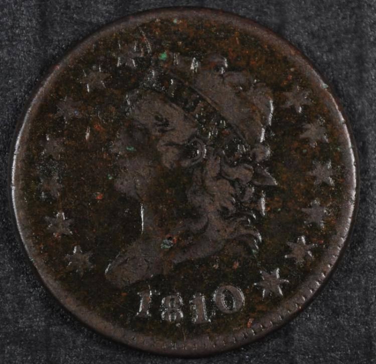 1810/09 LARGE CENT VF + NICE, RARE!